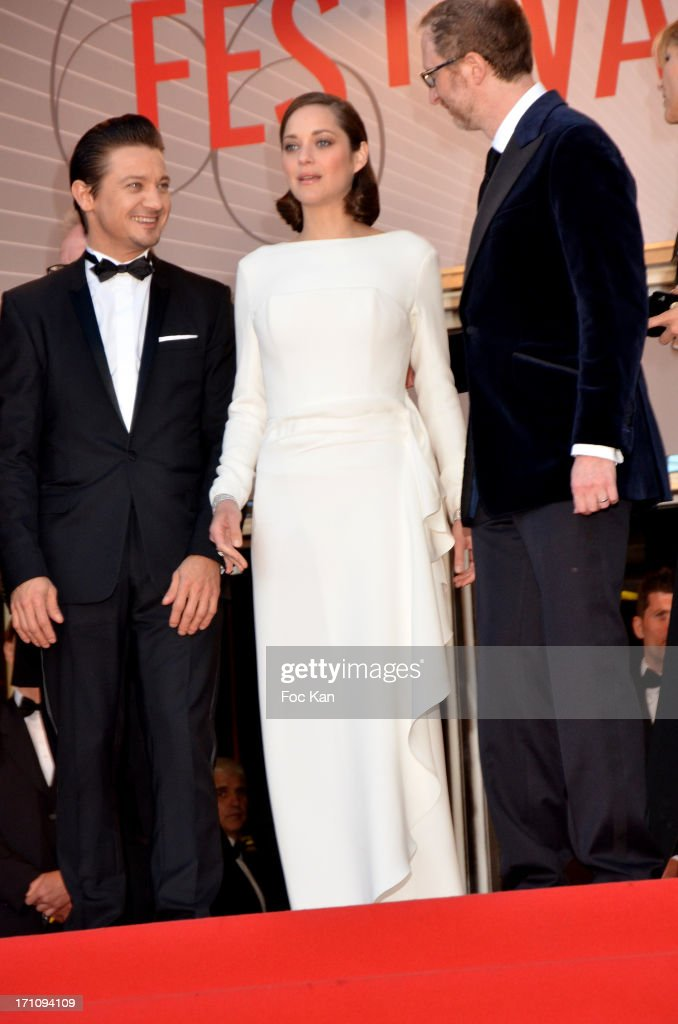 Jeremy Renner, Marion Cotillard and director James Gray attend 'The Immigrant' Premiere during the 66th Annual Cannes Film Festival at Grand Theatre Lumiere on May 24, 2013 in Cannes, France.