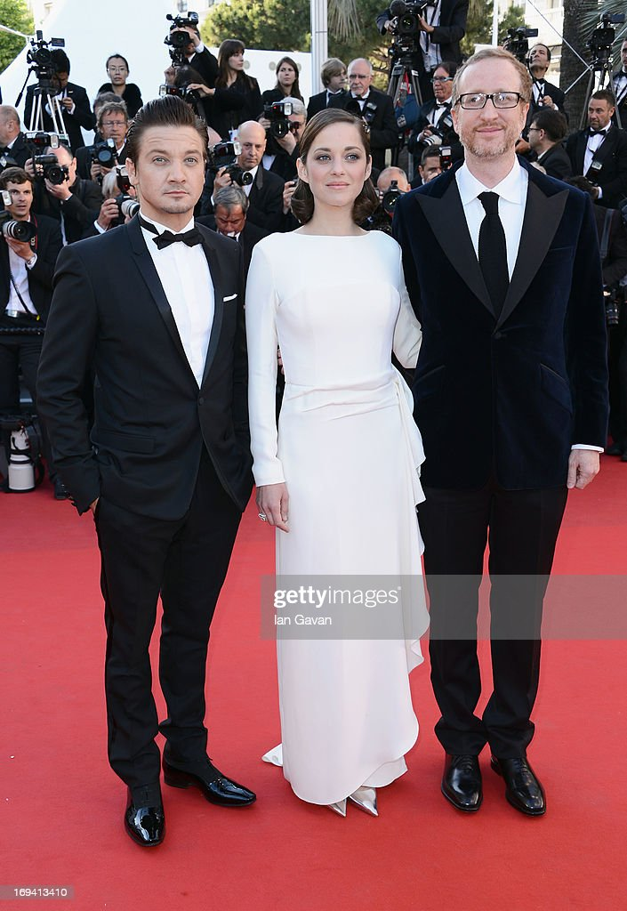 Jeremy Renner, Marion Cotillard and James Gray attend 'The Immigrant' Premiere during the 66th Annual Cannes Film Festival at Grand Theatre Lumiere on May 24, 2013 in Cannes, France.