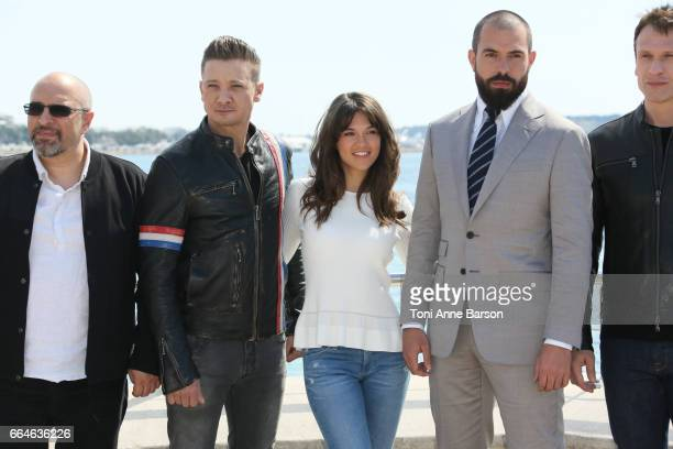 Jeremy Renner Sabrina Bartlett Tom Cullen and Simon Merrells attend 'Knightfall' photocall during MIPTV 2017 on April 4 2017 in Cannes France