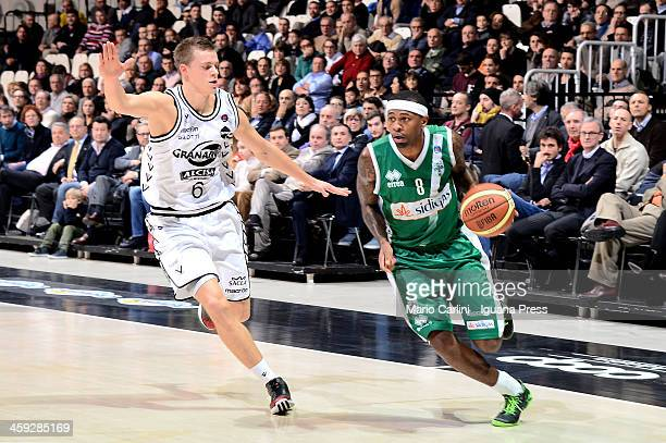 Jeremy Richardson of Sidigas competes with Viktor Gaddefors of Granarolo during the LegaBasket Serie A1 match between Granarolo Bologna and Sidigas...