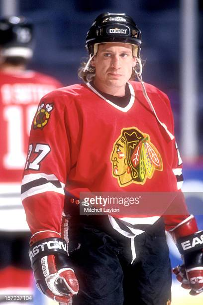 Jeremy Roenick of the Chicago Black Hawks looks on before a hockey game against the Washington Capitals on March 8 1994 at USAir Arena in Landover...