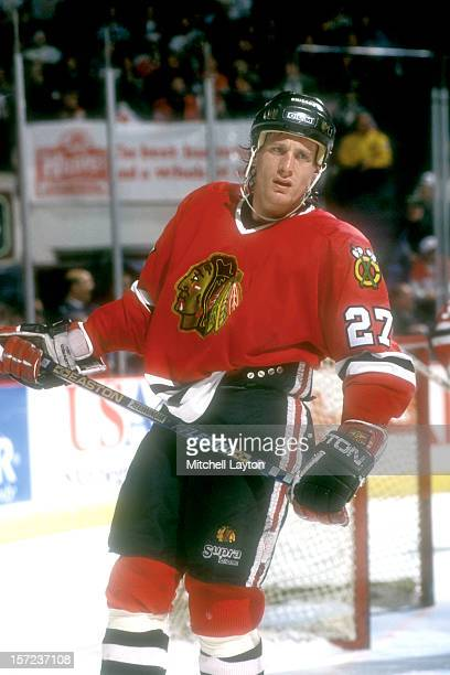 Jeremy Roenick of the Chicago Black Hawks looks on during a hockey game against the Washington Capitals on March 8 1994 at USAir Arena in Landover...