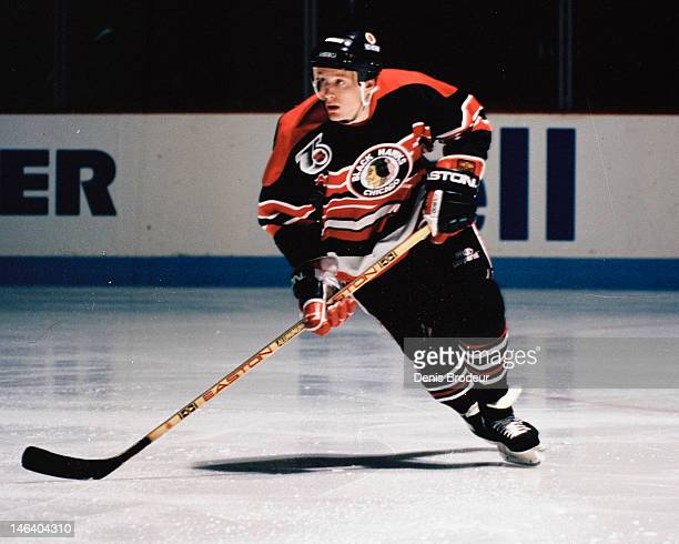 Jeremy Roenick of the Chicago Blackhawks skates during a game against the Montreal Canadiens Circa 1988 at the Montreal Forum in Montreal Quebec...