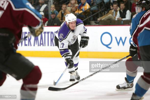 Jeremy Roenick of the Los Angeles Kings in action during the game between the Los Angeles Kings and the Colorado Avalanche at the Pepsi Center in...