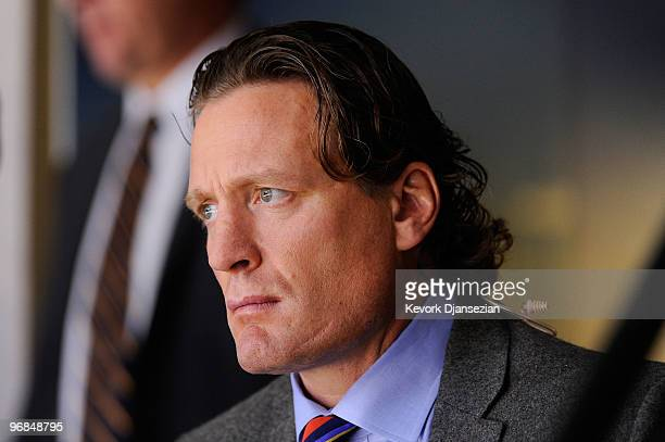 Jeremy Roenick watches as the United States plays against Switzerland during the ice hockey men's preliminary game on day 5 of the Vancouver 2010...