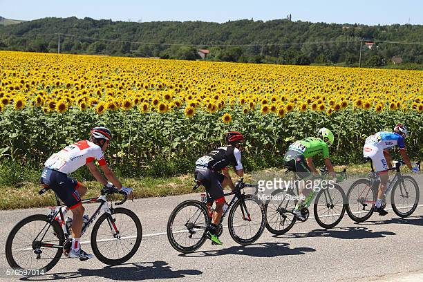 Jeremy Roy of France and FDJ leads the breakaway group from Alex Howes of USA and Cannondale Drapac Pro Cycling Team Cesore Benedetti of Italy and...