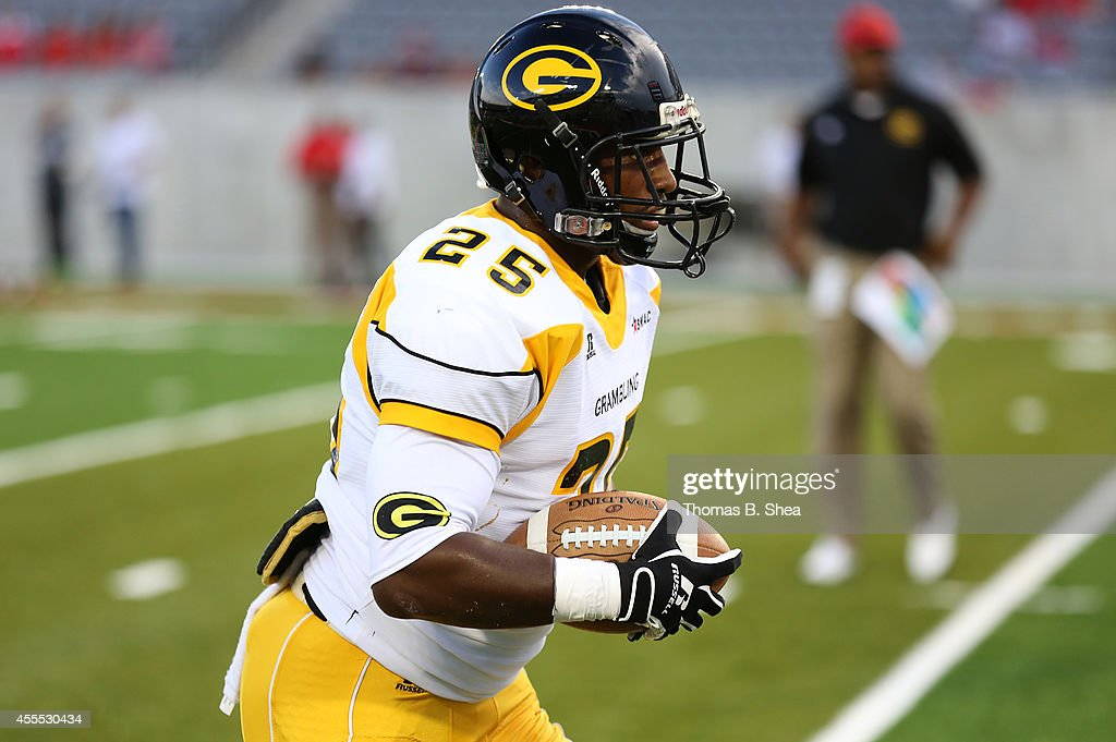 Jeremy Runner #25 of the Grambling State Tigers warms up before playing against the Houston Cougars on September 6, 2014 at TDECU Stadium in Houston, Texas.