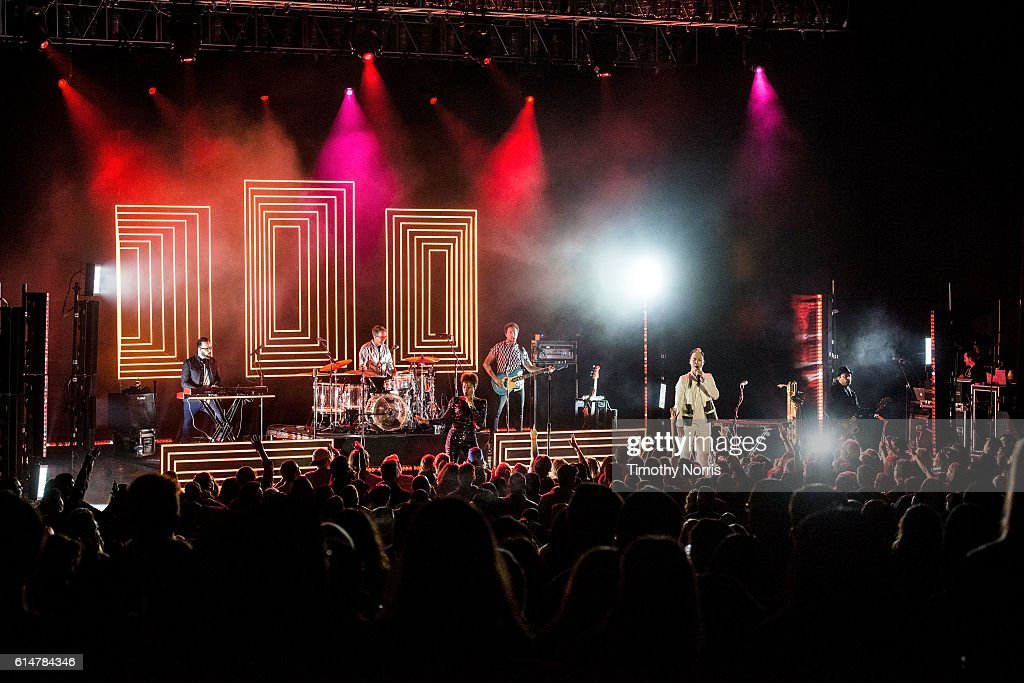 Jeremy Ruzumna, John Wicks, Noelle Scaggs, Joseph Karnes, Michael Fitzpatrick and James King of Fitz and The Tantrums perform at The Greek Theatre on October 14, 2016 in Los Angeles, California.