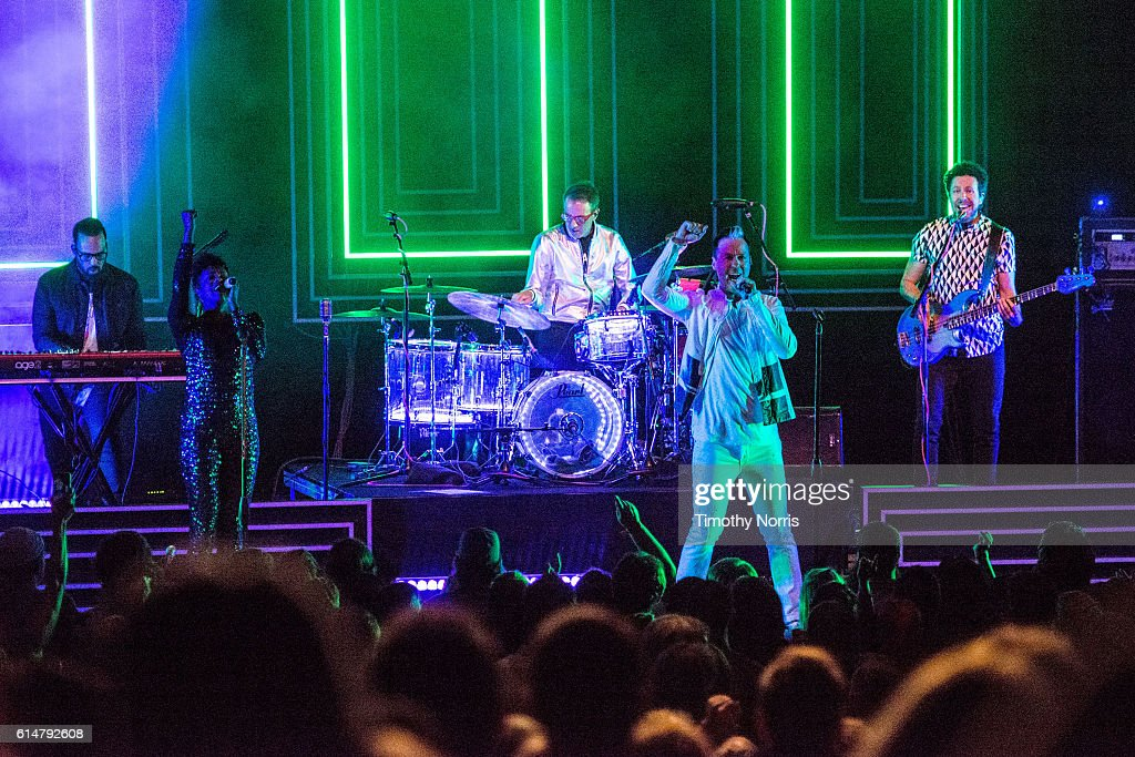 Jeremy Ruzumna, Noelle Scaggs, John Wicks, Michael Fitzpatrick and Joseph Karnes of Fitz and The Tantrums perform at The Greek Theatre on October 14, 2016 in Los Angeles, California.