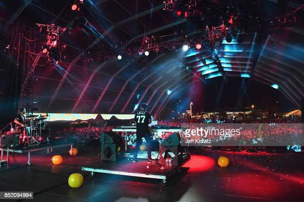 Jeremy Salken and Dominic Lalli of Big Gigantic perform on Fremont Stage during day 1 of the 2017 Life Is Beautiful Festival on September 22 2017 in...