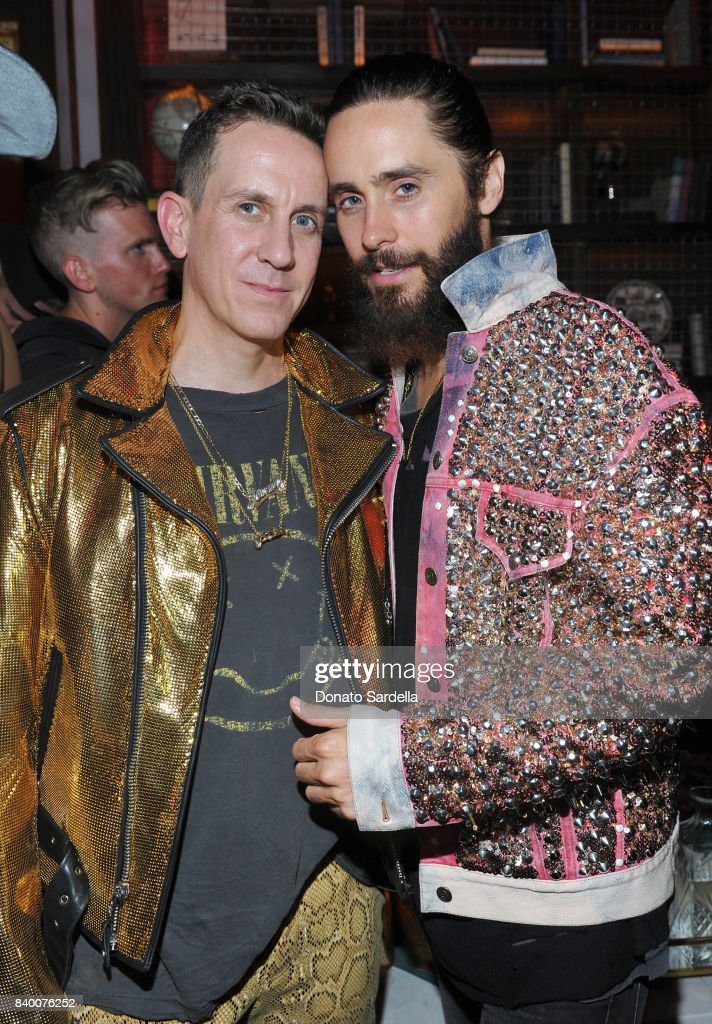 Jeremy Scott (L) and Jared Leto at UGG x Jeremy Scott Collaboration Launch Event at The h.wood Group's 'Poppy' on August 27, 2017 in West Hollywood, California.