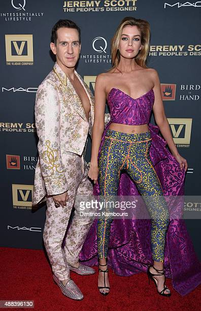 Jeremy Scott and Stella Maxwell attend 'Jeremy Scott The People's Designer' New York Premiere at The Paris Theatre on September 15 2015 in New York...