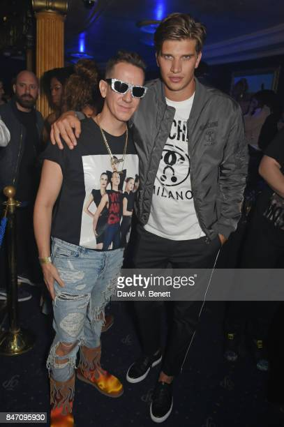 Jeremy Scott and Toby HuntingtonWhiteley attend the iD x Jeremy Scott party presented by UGG at Cafe de Paris on September 14 2017 in London England