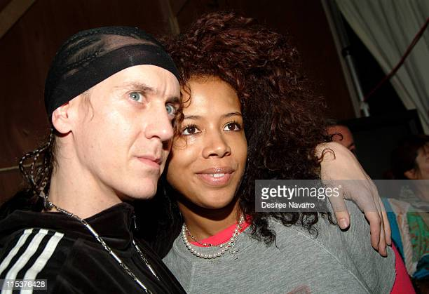 Jeremy Scott designer and Kelis during Olympus Fashion Week Fall 2005 Jeremy Scott Front Row and Backstage at Altman Building in New York City New...