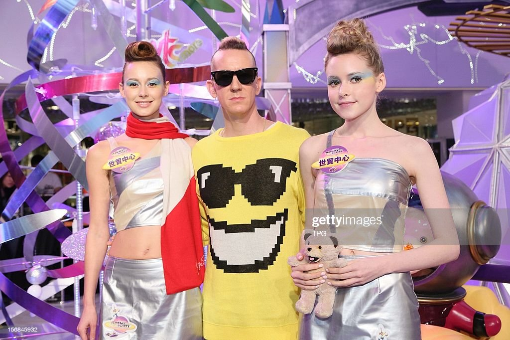 Jeremy Scott, genius American fashion designer, attended a plaza Chrismas ceremony with Cantonese pop singer Fiona Sit on Thursday November 22, 2012 in Hong Kong, China.