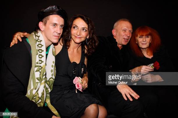Jeremy Scott Nathalie Rykiel Jean Paul Gaultier and Sonia Rykiel attend the Sonya Rikiel fashion show during Paris Fashion Week on October 1 2008 in...