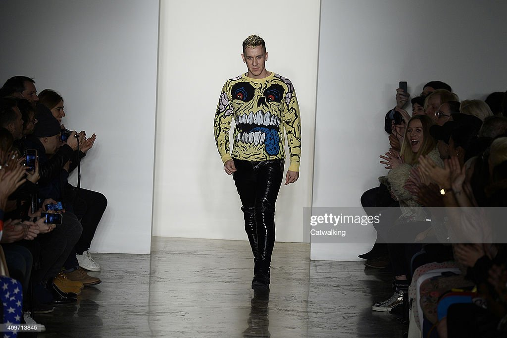 Jeremy Scott on the runway at the Jeremy Scott Autumn Winter 2014 fashion show during New York Fashion Week on February 12, 2014 in New York, United States.