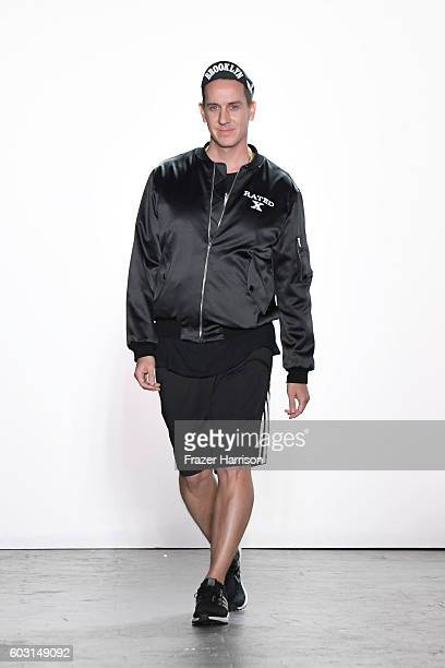 Jeremy Scott walks the runway at the Jeremy Scott fashion show during New York Fashion Week The Shows at The Arc Skylight at Moynihan Station on...