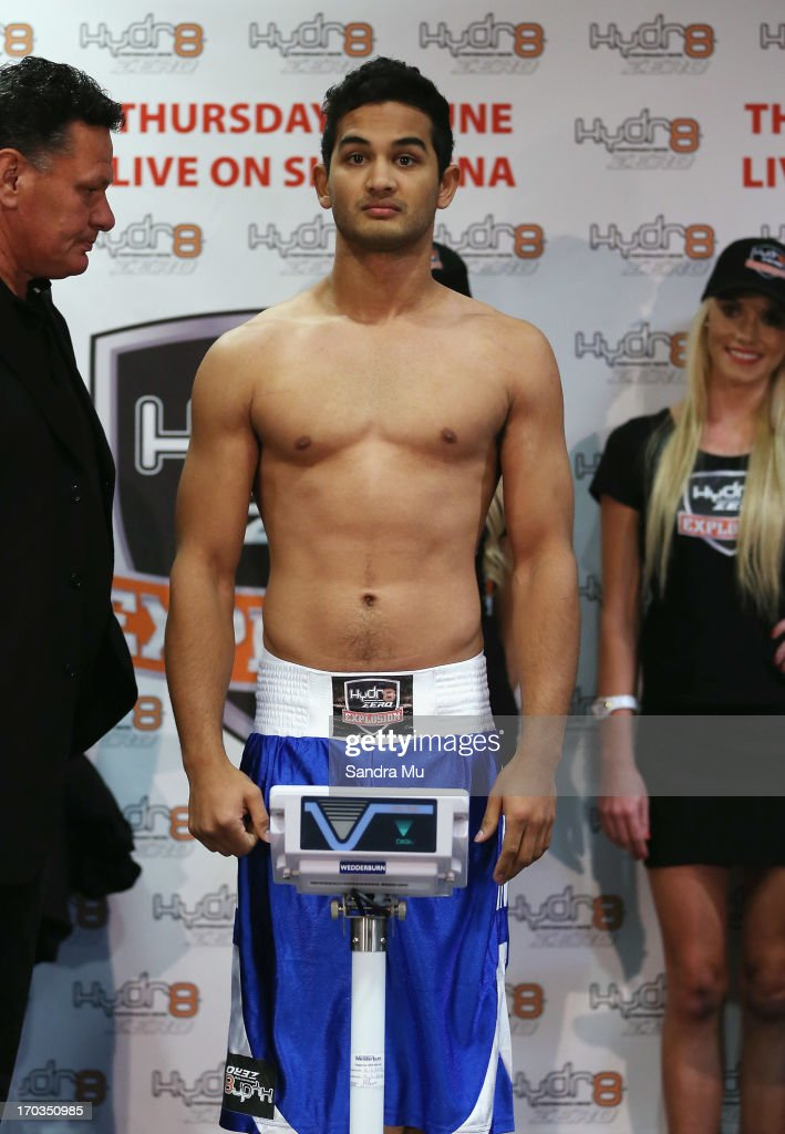 Jeremy Sebastian of Australiaweighs in ahead of tomorrow night's undercard bout between Marcel Botha and Jeremy Sebastian at Trusts Stadium on June 12, 2013 in Auckland, New Zealand.