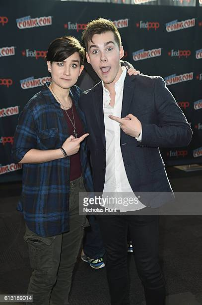 Jeremy Shada and Bex TaylorKlaus attend the Voltron Legendary Defender signing at Jacob Javits Center on October 7 2016 in New York City