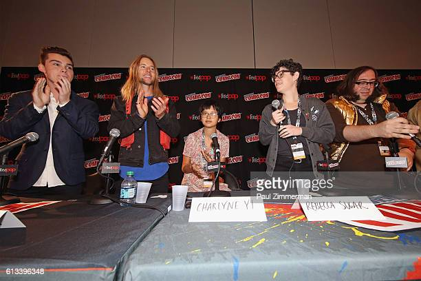 Jeremy Shada Greg Cipes Charlyne Yi Rebecca Sugar and Kyle Carrozza speak during the Cartoon Network Costume Ball Screening at New York Comic Con on...