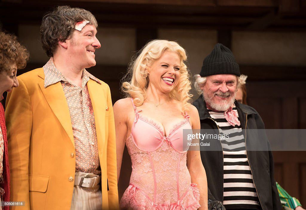 Jeremy Shamos Megan Hilty and Daniel Davis perform onstage during 'Noises Off' Broadway opening night at American Airlines Theatre on January 14 2016...
