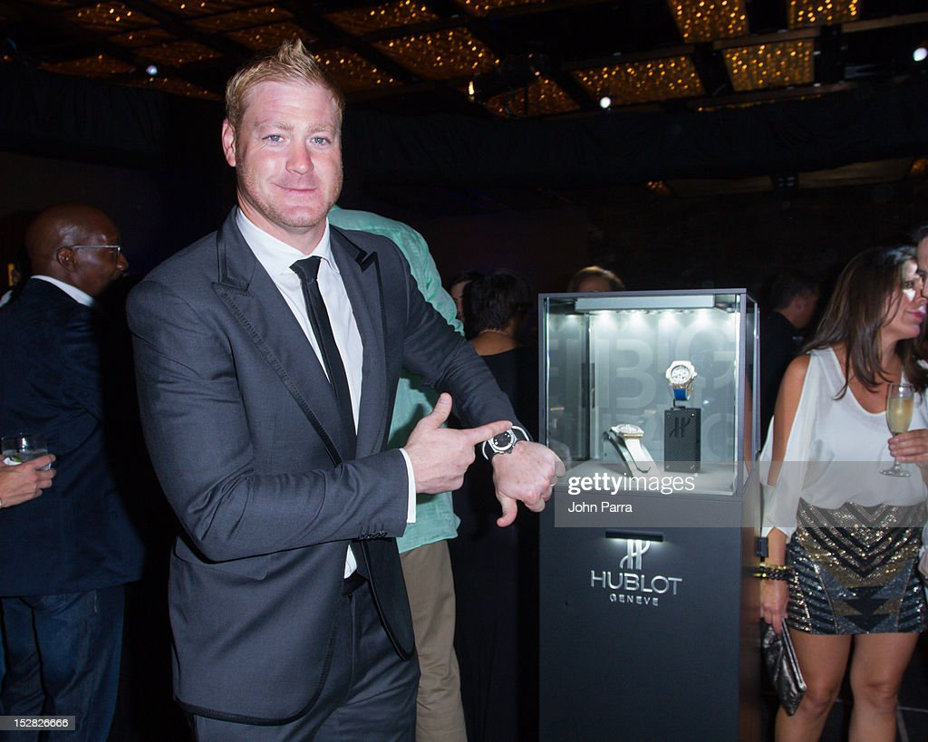 <a gi-track='captionPersonalityLinkClicked' href=/galleries/search?phrase=Jeremy+Shockey&family=editorial&specificpeople=209138 ng-click='$event.stopPropagation()'>Jeremy Shockey</a> attends the Hublot Introduces The King Power '305' Timepiece at W South Beach Hotel & Residences on September 26, 2012 in Miami Beach, Florida.