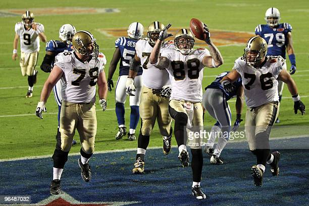 Jeremy Shockey of the New Orleans Saints celebrates after scoring a touchdown against the Indianapolis Colts during Super Bowl XLIV on February 7...
