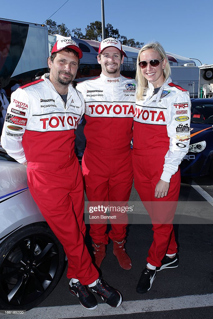 Jeremy Sisto, Tyler Clary and Jessica Hardy attend the 2013 Toyota Pro/Celebrity Race - Press Practic Day on April 9, 2013 in Long Beach, California.