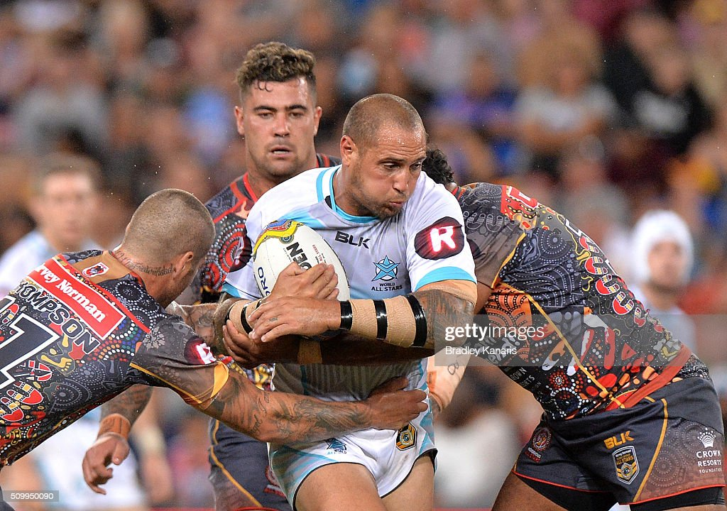 Jeremy Smith of the World All Stars takes on the defence during the NRL match between the Indigenous All-Stars and the World All-Stars at Suncorp Stadium on February 13, 2016 in Brisbane, Australia.