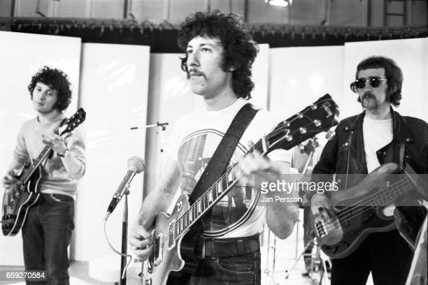 Jeremy Spencer Peter Green and John McVie of Fleetwood Mac performing at TV Special Copenhagen Denmark May 1968