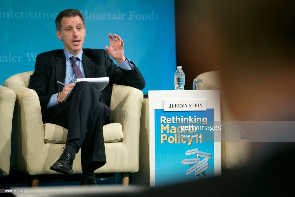 Jeremy Stein, governor of the U.S. Federal Reserve, speaks at a macro policy discussion during the International Monetary Fund (IMF) and World Bank Group Spring Meetings in Washington, D.C., U.S., on Wednesday, April 17, 2013. As much as 20 percent of non-bank corporate debt in the weakest euro-area economies is unsustainable and may force companies to cut dividends and sell assets, dealing further blows to investor confidence, the IMF said. Photographer: Andrew Harrer/Bloomberg via Getty Images
