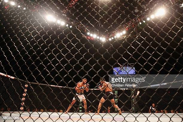 Jeremy Stephens and Dennis Bermudez face off in their featherweight fight during the UFC 189 event inside MGM Grand Garden Arena on July 11 2015 in...