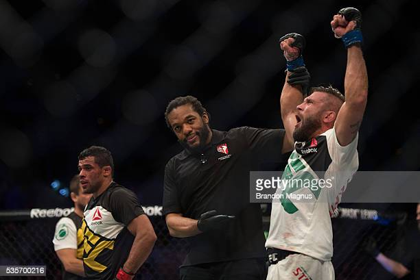 Jeremy Stephens celebrates his victory over Renan Barao in their featherweight bout during the UFC Fight Night event inside the Mandalay Bay Events...