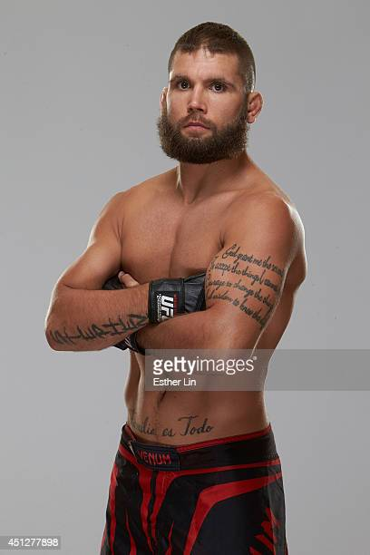 Jeremy Stephens poses for a portrait during a UFC photo session on June 25 2014 in San Antonio Texas