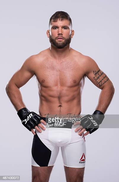 Jeremy Stephens poses for a portrait during a UFC photo session inside the MGM Grand Garden Arena on July 7 2015 in Las Vegas Nevada