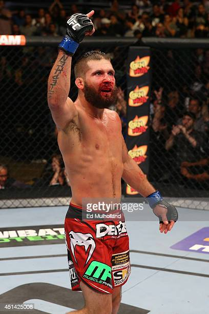 Jeremy Stephens reacts after his featherweight bout at the ATT Center on June 28 2014 in San Antonio Texas