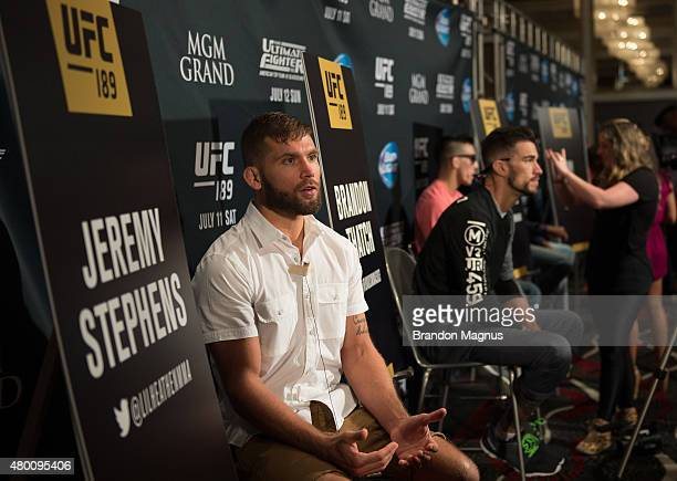 Jeremy Stephens speaks to the media during the UFC 189 TUF Finale Ultimate Media Day at MGM Grand Hotel Casino on July 9 2015 in Las Vegas Nevada