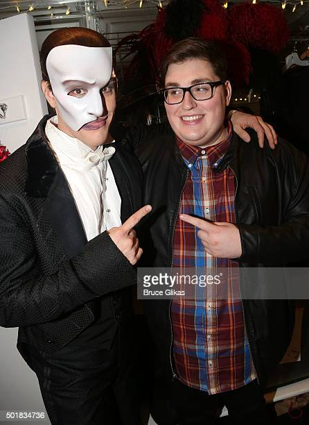 Jeremy Stolle as 'the Phantom' and The 2015 winner of NBC's 'The Voice' Jordan Smith as 'The Phantom' pose backstage at the hit musical ' The Phantom...