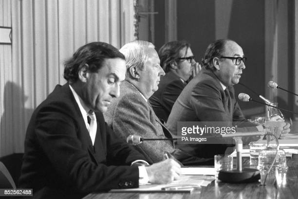 Jeremy Thorpe Edward Heath and Home Secretary Roy Jenkins attend a press conference at the Waldorf Hotel for the organisation Britain in Europe