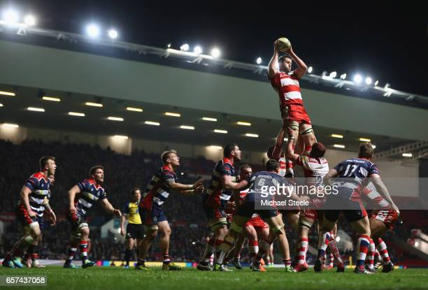 Jeremy Thrush of Gloucester leaps highest to claim the ball at a lineout during the Aviva Premiership match between Bristol Rugby and Gloucester...