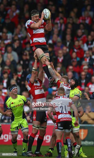Jeremy Thrush of Gloucester Rugby twins a line out during the Aviva Premiership match between Gloucester Rugby and Sale Sharks at Kingsholm Stadium...