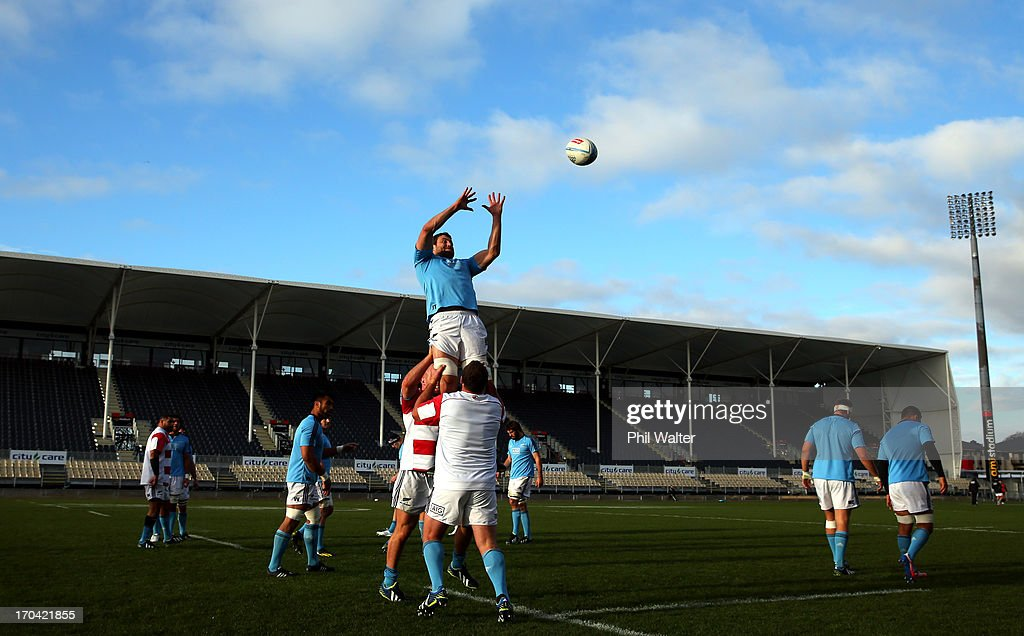 Jeremy Thrush of the All Blacks takes the ball in the lineout during a New Zealand All Blacks training session at AMI Stadium on June 13, 2013 in Christchurch, New Zealand.