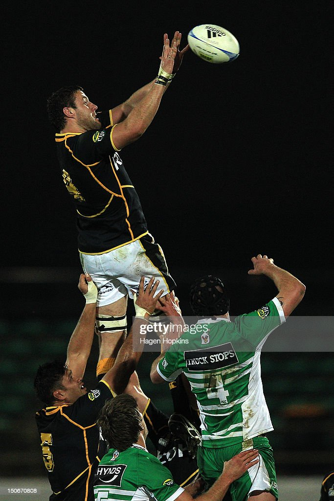 Jeremy Thrush of Wellington wins a lineout ball during the round one ITM Cup match between Manawatu and Wellington at FMG Stadium on August 24, 2012 in Palmerston North, New Zealand.
