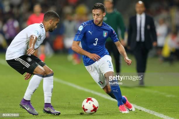 Jeremy Toljan Antonio Barreca during the UEFA U21 European Championship Group C football match Italy v Germany in Krakow Poland on June 24 2017