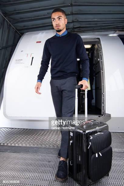 Jeremy Toljan departs a Lufthansa plane carrying the Germany U21 National Team at Frankfurt International Airport on July 1 2017 in Frankfurt am Main...