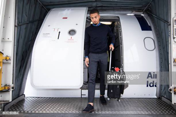 Jeremy Toljan departs a Lufthansa plane carrying the Germany U21 National Team at Frankfurt International Airport on July 1 2017 in Frankfurt am Main...