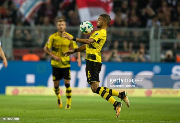 Jeremy Toljan of Borussia Dortmund during the Bundesliga match between Borussia Dortmund and RB Leipzig at Signal Iduna Park on October 14 2017 in...