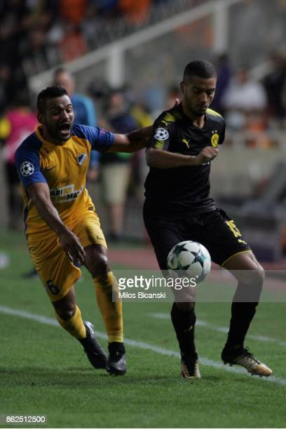 Jeremy Toljan of Borussia Dortmund in action against Lorenzo Ebecilio of Apoel during the UEFA Champions League group H match between APOEL Nikosia...