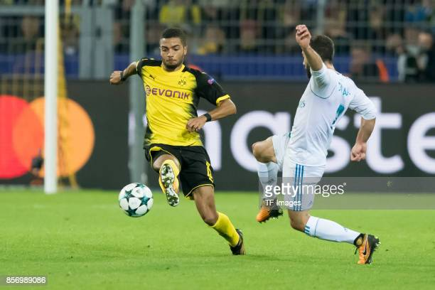 Jeremy Toljan of Dortmund battle for the ball during the UEFA Champions League group H match between Borussia Dortmund and Real Madrid at Signal...